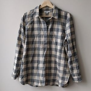 Madewell Plaid Pullover Long Sleeve Shirt Button